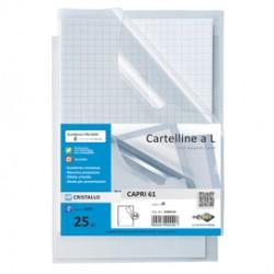 25 CARTELLINE A L 21X29,7 CAPRI 61 PVC CRISTALLO 11/100M SEI