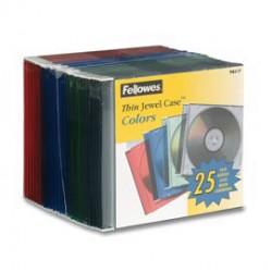 SCATOLA 25 CUSTODIE CD SLIM COLORI ASS.TRASPARENTI FELLOWES