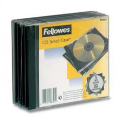 PACK 5 CUSTODIA CD SINGOLA JEWEL CASE BASE NERA