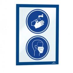 Cornice espositiva adesiva Duraframe A4 21x29,7cm blu DURABLE