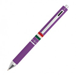 Penna sfera scatto multifunzione QUADRA fusto viola gommato Italia OSAMA
