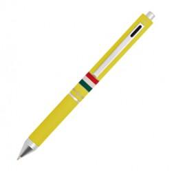 Penna sfera scatto multifunzione QUADRA fusto giallo gommato Italia OSAMA