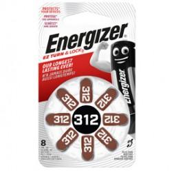 Blister 8 pile per apparecchi acustici 312 Zinc Air Energizer