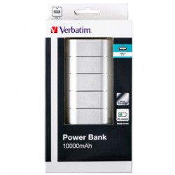 Verbatim PowerBank 10000MAH Black Plastic, 5v2A in and out. 2x out