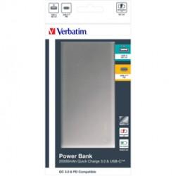 Verbatim Powerbank QC3 20000MAH GREY / SILVER METAL